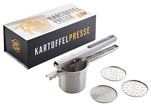 Fully Fresh! | NEU | Premium Kartoffelpresse Edelstahl (3 Siebeinsätze zum Einklicken), Obst-/Spätzlepresse, Multipresse, rostfrei & spülmaschinenfest, 350ml | inkl. eBook