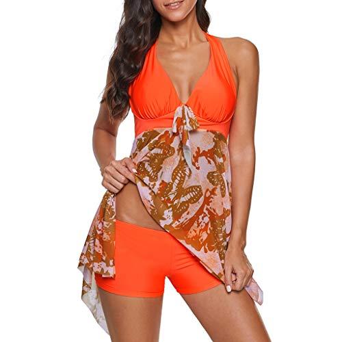 PAOLIAN Bademode Damen Große Größe Bikini Set Gradient Tankini Rock Hohe Taille Konservativ Bow Patchwork Drucken Zweiteilige Badeanzug