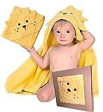 BabyCrate Toalla con capucha de león, 100% algodón orgánico suave y grueso, calidad prémium, ideal como regalo para recién nacidos, bebés y niños pequeños.