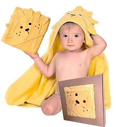 BabyCrate Kapuzenbadetuch Löwe 100{6e790be7b8e1bd4c761488d9632854a9279d3985fd9cf732ed6070726963b46f} Bio-Baumwolle weich und dick - Premium-Qualität - ideal als Geschenk für Neugeborene, Säuglinge und Kleinkinder