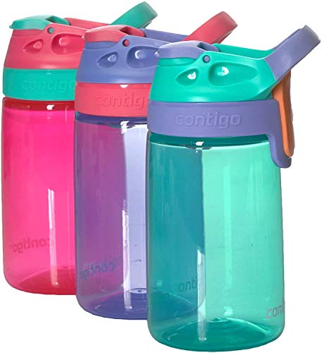Contigo Kids Gizmo Sip Spill-Proof BPA-Free Water Bottles with AutoSeal Technology Multi-Coloured 3 Pack - Purple, Pink, Blue
