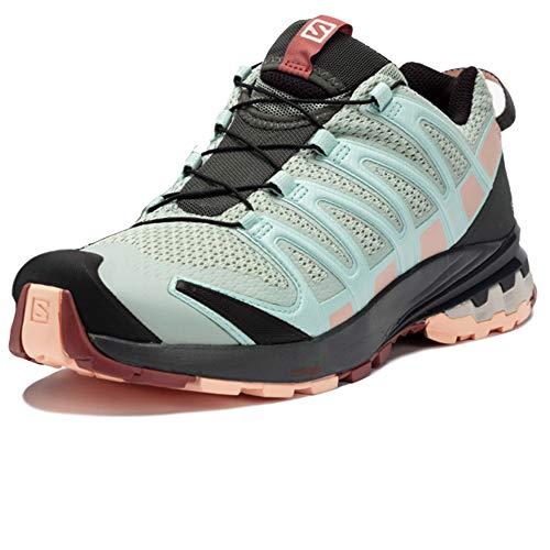 Salomon XA Pro 3D V8 W, Zapatillas De Trail Running Y Sanderismo Impermeables Versión Màs Ligera Mujer, Gris (Aqua Gray/Urban Chic/Tropical Peach), 36 EU