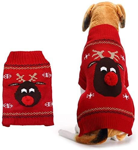 HAPPKING Hundepullover für Hunde weihnachtlich Rentier Weihnachten Hundekleidung, Haustier Weihnachtskostüm Hund Warme Pullover Pet Kostüm Weihnachten Themed Kleidung (Farbe : Rot, Größe : XS)