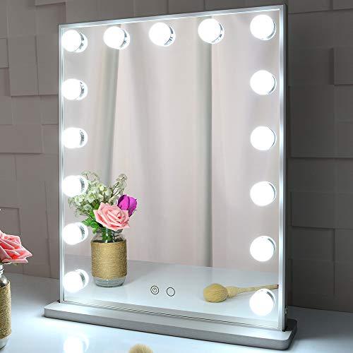 MEETOP Specchio da toeletta con luci, Specchio da Tavolo/Parete con Illuminazione a Hollywood con 15 lampadine dimmerabili, Specchio cosmetico per Illuminazione di Bellezza (Argento)