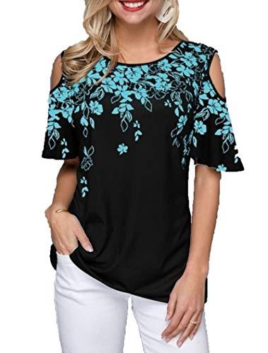 SLYZ Blusa De Camiseta Casual De Cuello Redondo con Estampado De Hombros Descubiertos Y Tallas Grandes para Mujeres Europeas Y Americanas