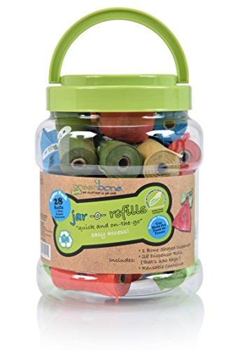 Greenbone 18000 BioBase Waste Bag Rolls with A Re-Usable Carry Handle Cannister & Bag Dispenser - 28 Pack (336 Bags)