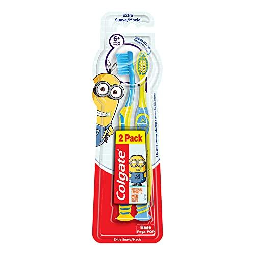 Colgate Smiles, Cepillo de Dientes Infantil Minions para una limpieza dental más divertida! Recomendado para niños mayores de 6 años que tienen una combinación de dientes de leche y permanentes, 2 piezas