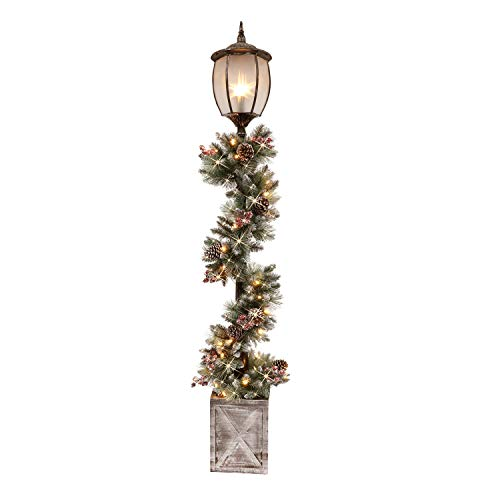 Puleo International 7 Foot Pre-Lit Christmas Lamp Post with Decorated Garland and 50 Warm White LED Lights