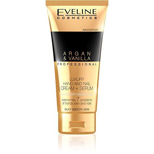 Eveline Cosmetics Luxuriöses Argan & Vanille Hand und Nagelcreme für Sehr Trockene Rissige Hände | 100 ml | Handcreme Repair - Umfassende Regeneration | Sofortige Erholung für Ihre Hände