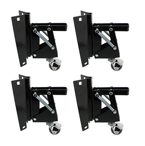 DCT Heavy-Duty Retractable Workbench Contractor Saw Swivel Caster Wheels Assembly Set with Mounting Plate Bracket 4-Pack