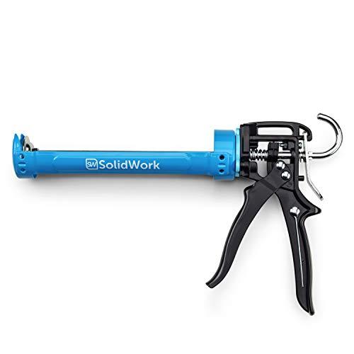 Pistola de cartuchos profesional SolidWork | pistola selladora con la más alta relación de palanca 24:1 - pistola de silicona para procesar todos los cartuchos de sellador y adhesivo de 310 ml