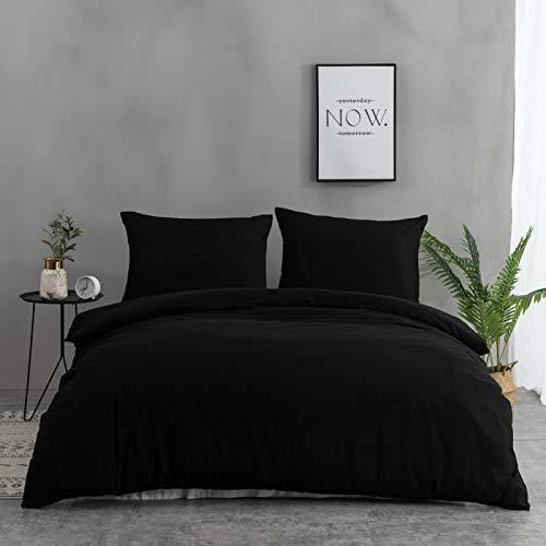 Mohap - Set copripiumino 110 fili/cm² + 1 lenzuolo con angoli con 2 federe 65 x 65 cm, set da letto matrimoniale con chiusura lampo (nero, 240 x 260 + 180 x 200 cm)