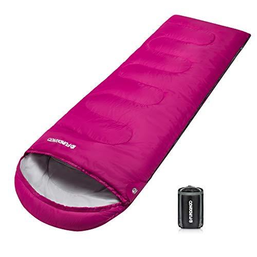 FUNDANGO Schlafsack für Erwachsene, leicht, gemütlich, Umschläge, kompakt, wasserdichtes Design, warme Jahreszeit, Schlafsack für Camping, Reisen, Rucksackreisen, Wandern, Trekking, 220x75cm_Pink