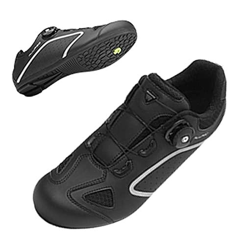 CHUIKUAJ Zapatillas de Ciclismo Hombre Mujer Sin Candado Zapatillas de Ciclismo de Carretera para Interior Zapatillas de Ciclismo Peloton,Black-45EU