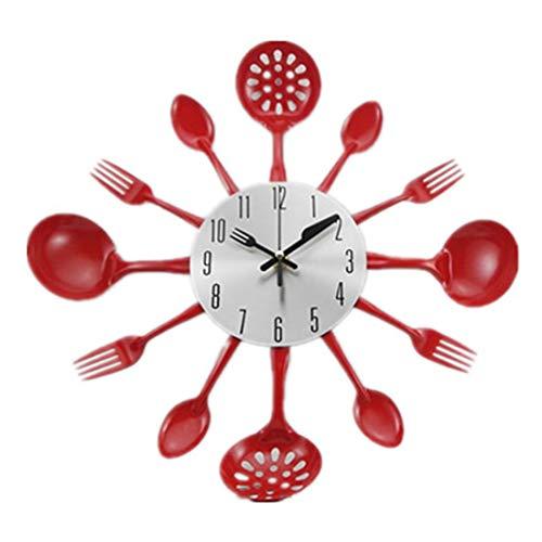 OIURV Horloge Murale de Cuisine Couverts Couteau Vaisselle Silencieuse Décoration Fourchette Cuillère Murale du Cuisine Restaurants hôtels - diamètre 35 cm - (Rouge)