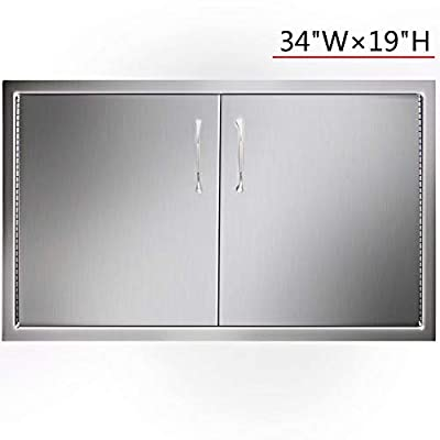YXHARD Outdoor BBQ Access Door, 304 Brushed Stainless Steel 34 Widthx 19 Height Inches Kitchen Access Door for Outdoor Kitchen,BBQ Island or Barbecue Grill