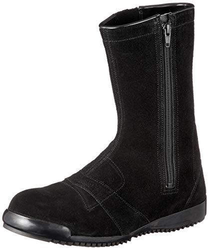 [シモン] 作業靴 安全靴半長靴 高所 通気性 JIS規格 チャック付半長靴安全靴 3055黒床 黒 25.5 cm 3E