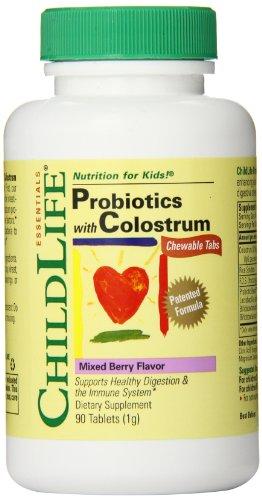 Child Life Probiotics Plus Colostrum Chewable Tablets, Mixed Berry Flavor, 90 Count