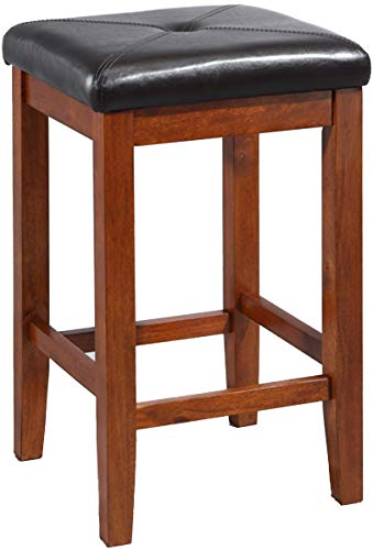 Crosley Furniture Upholstered Square Seat Bar Stool (Set of 2), 24-inch, Classic Cherry