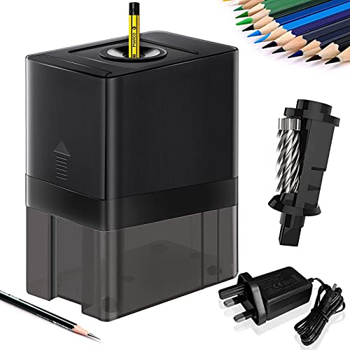 ACTRINIC Electric Pencil Sharpener Heavy Duty Automatic Pencil Sharpener with Auto Stop Fast Sharpen Stronger Helical Blade Safety Design for Classroom,Home, Office, Artist, Students.