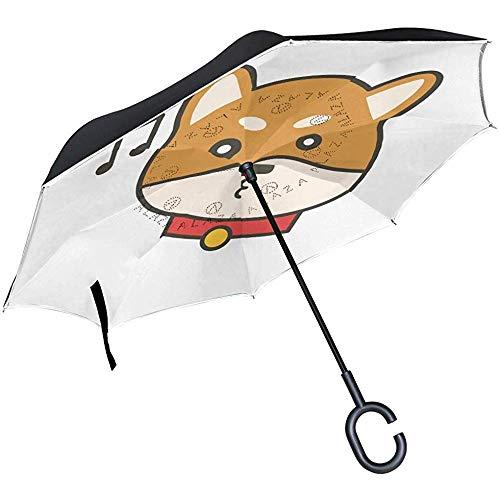 Mike-Shop Umgekehrte Regenschirme singen Lied-Hunderückseiten-Regenschirm für Auto-Regen-im Freienreise