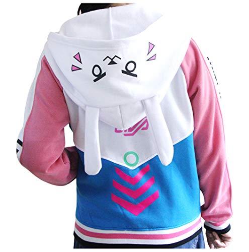 Cosplaybala Lovely Girl Jacket Song Hana Bunny Ear Coat DVA Cosplay Hoodies (XXXL, Blue)