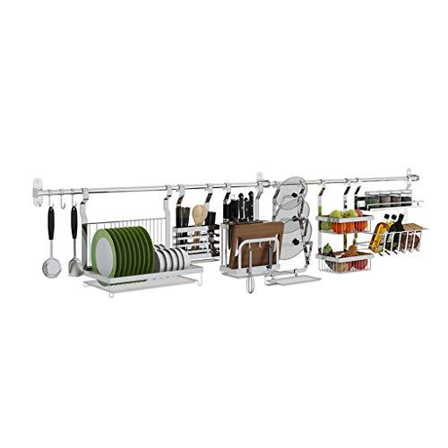 Tmpty Küchenutensilienhalter Küchenrelingsystem 304 Edelstahl,Multifunktionsablaufablage,Silberweiß,mehrere Größen (Size : 82cm)