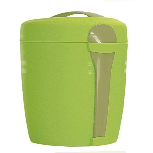 Speisegefäß Isoliergefäß Thermobehälter, lebensmittelechter Kunststoff, 100% auslaufsicher, gesamt ca. Ø 13 x 13.5 cm, Volumen ca. 0.7 l, hellgrün/grau