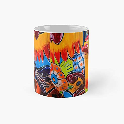 Southwest Talavera Pottery Chickens Classic Mug   Best Gift Funny Coffee Mugs 11 Oz