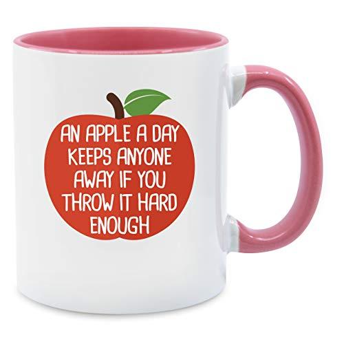 Tasse mit Spruch - An apple a day - Unisize - Rosa - Q9061 - Kaffee-Tasse inkl. Geschenk-Verpackung