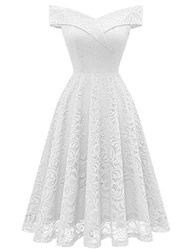 Wedding Guest Dress Vintage Floral Lace Dress Off Shoulder Keen Length Cocktail Formal Swing Dress White-1 L