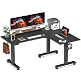 FEZIBO Triple Motor L-Shaped Electric Standing Desk, 63 inches Height Adjustable Stand up Corner Desk, Sit Stand Workstation with Splice Board, Black Frame/Black Top