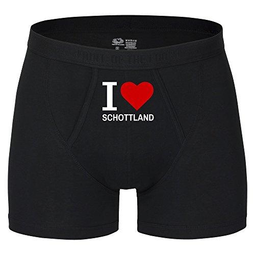 Multifanshop Herren Boxer Short Classic I Love Schottland - schwarz - Größe S bis 2XL, Größe:XXL