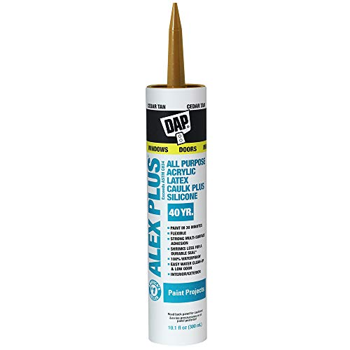 Dap, Cedar Tan 18122 Acrylic Latex Caulk with Silicone, 10.1-Ounce, Fl Oz