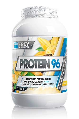 FREY Nutrition PROTEIN 96 (Vanille, 2300 g) Ideal für kohlenhydratreduzierte Diätphasen und als Zwischenmahlzeit - Hoher Caseinanteil - low carb - Made in Germany