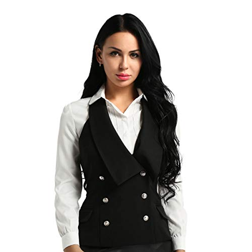 TiaoBug Damen Anzug Weste Elegant Zweireiher Ärmellose Top Neckholder Vest Gilet Business Casual V-Ausschnitt Blazer Schwarz XL