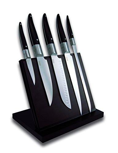 Laguiole Expression® - Magnetischer Block von 5 Küchenmessern - Parkmesser + Küchenmesser + Santoku + Kochmesser + Schinkenmesser - Edelstahl - Pom-Griff