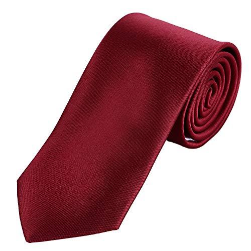 DonDon Herren Krawatte 7 cm klassische handgefertigte Business Krawatte Dunkelrot für Büro oder festliche Veranstaltungen