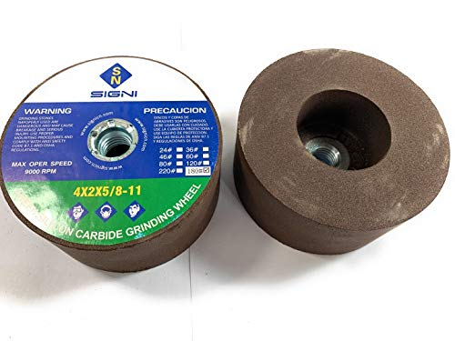 Green Grinding Stone with Thread for Grinding Granite 4X2X5/8-11 (1 Pack) (Grit 180)