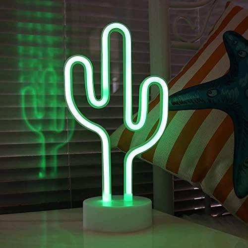 LEDPAZARI Lámpara de neón LED con forma de cactus para niños, decoración de habitaciones, cafetería, bar, fiesta de cumpleaños, decoración de vacaciones (cactus verde)