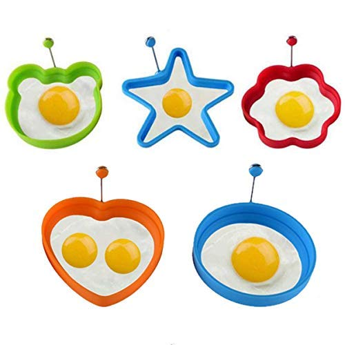 Kinone Fried Egg Mold 5 PCS Set, Silicone Egg Ring 4 Colors Different Shapes, Non Stick Pancake Shaper Mold With Handles