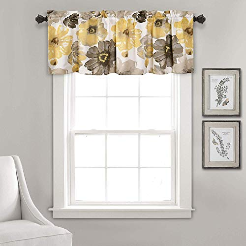 """DIANA LINEN Leah Floral Valance Curtains(18"""" x 52"""") (Yellow)"""