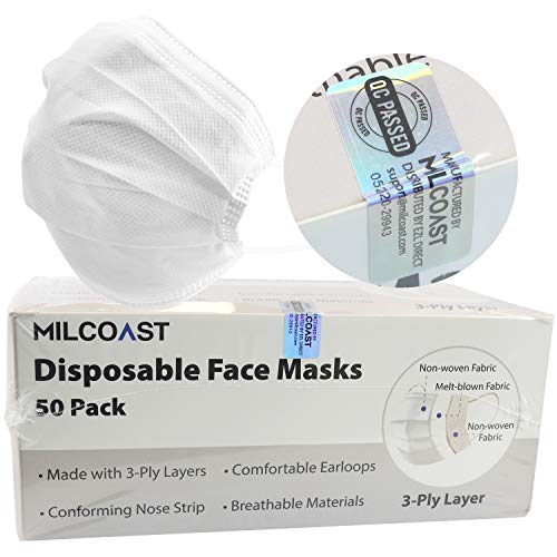 Milcoast Premium Disposable Face Masks Breathable 3-Layer Filter Soft Earloops - 50 Pack Color (White)