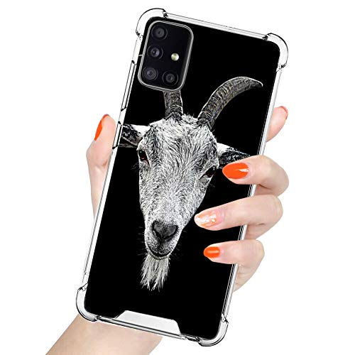 MOWIME Clear Case Compatible with Samsung Galaxy A71 Case Goat Head 360 Full Body TPU+PC Protective Shockproof for Samsung Galaxy A71 4G 2019 - Clear
