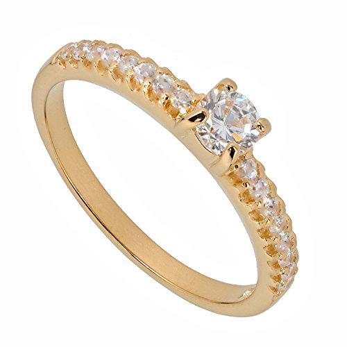 Judith Williams Halb-Memory Damen-Ring Sterling-Silber 925 vergoldet Zirkonia RW18