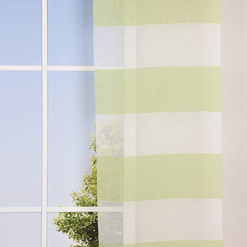 SCHÖNER LEBEN. Gardine Flächenvorhang Schiebe-Paneele Meterware LOFT Querstreifen Linien weiß grün 60cm Breite