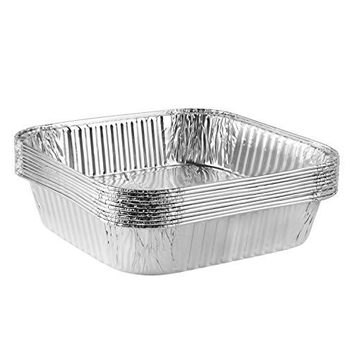 Plasticpro Disposable 8'' X 8'' X 2'' Inch Square Aluminum Tin Foil Baking Pans Bakeware - Cookware Perfect for Baking Cakes, Breads, Brownies, Bread, Meatloaf, Lasagna, Pack of 10