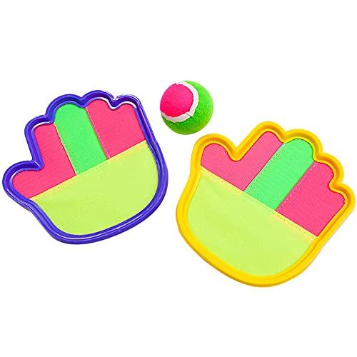 Hju Pallina per Bambini Palla attività di Lancio E Cattura Lanciare Una Palla Divertenti attività All'Aperto per Bambini, Sport di Cattura per Bambini, 2 Racchette E Una Palla, Gialla E Blu