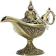 DFGTR Ornaments Traditional Hollow Out Fairy Tale Aladdin Magic Lamp Light Tea Pot Genies Lamp Vintage Retro Toy for Home Decor Ornaments