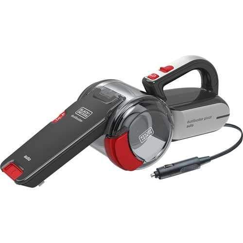 Black+Decker 12V DC Pivot Dustbuster Cyclonic Handheld Car Vaccum Cleaner, Grey/Red